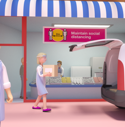 Animation to promote the re-opening of Oldham's shops on 12th April